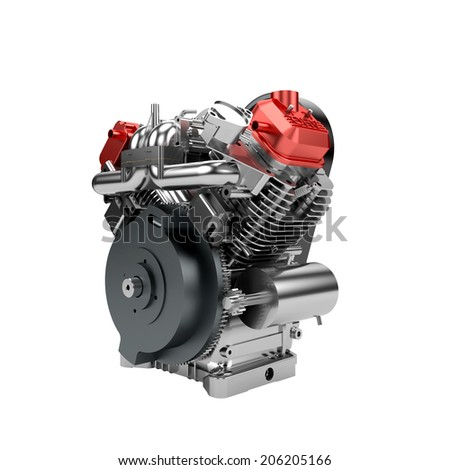 Assembled V-twin engine of large powerful motorbike isolated on white