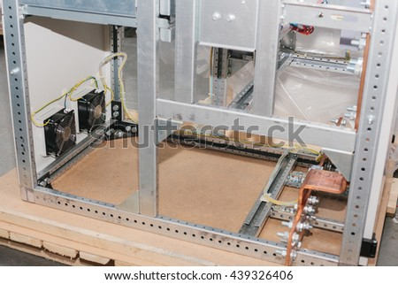 Assembly of low-voltage cabinet. Uninterrupted power. Electrical power. - stock photo