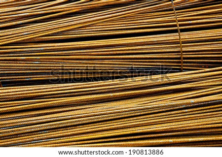 Assembly of metal armoring steel rods - stock photo