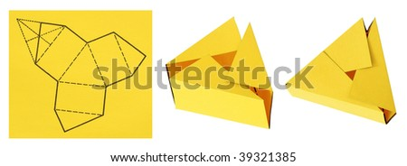 assembly procedure of paper gift box - stock photo