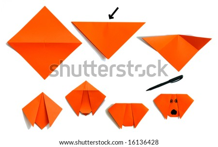 assembly procedure of paper puppy - stock photo