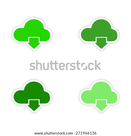 assembly realistic sticker design on paper clouds  - stock photo