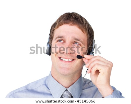 Assertive businessmnan with headset on looking up against a white background