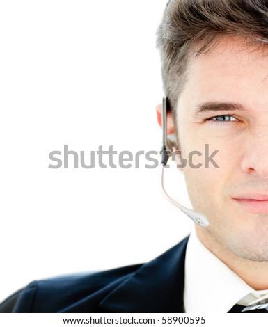 Assertive businesswoman wearing headphones against white background - stock photo