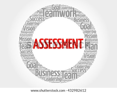 ASSESSMENT circle word cloud, business concept - stock photo