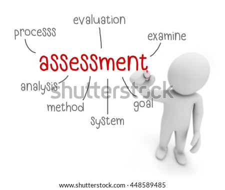 Assessment Text Business Man Writing Assessment Stock Illustration