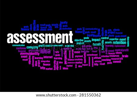 assessment word on cloud concept with feet shape - stock photo