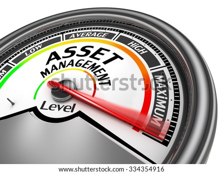 asset management level to maximum conceptual meter, isolated on white background - stock photo