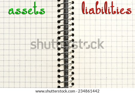 Assets and liabilities management concept. Checked paper sheet background or texture with empty space for text. - stock photo