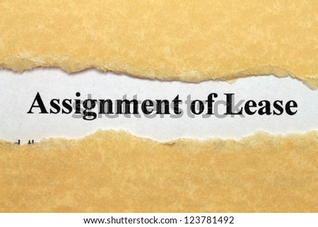 Assignment of lease - stock photo