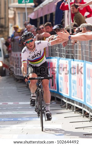 ASSISI, PERUGIA, ITALY - MAY 15: Mark Cavendish, Team Sky, at the end of the 10th stage of 2012 Giro d'Italia on May 15, 2012 in Assisi, Perugia, Italy - stock photo