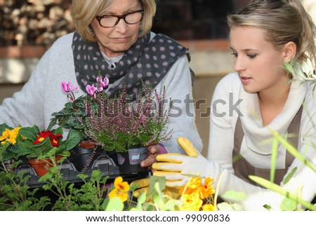 assistance to elderly people - stock photo
