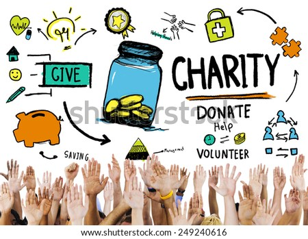 Assistance Volunteer Support Give Help Donate Charity Concept - stock photo