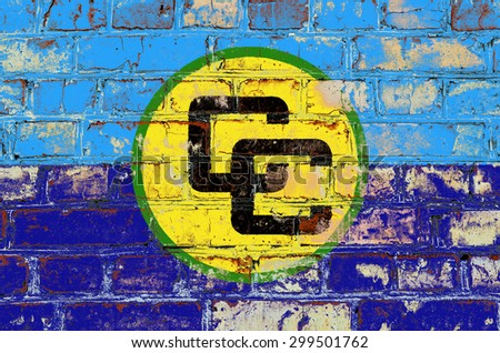 Association of countries of the Caribbean pool flag painted on old brick wall texture background - stock photo