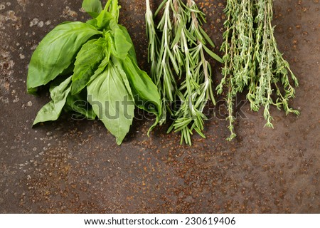 assorted aromatic herbs (basil, thyme, rosemary) on iron background - stock photo