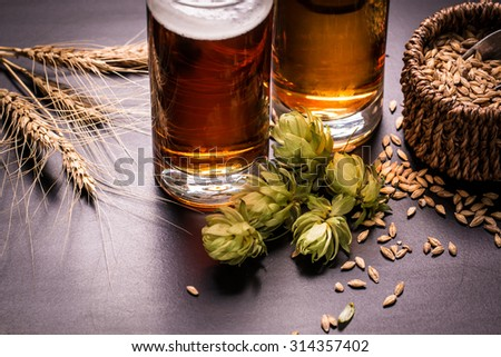 Assorted Beers in a Flight Ready for Tasting,vintage filter - stock photo