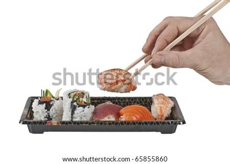 assorted bento box sushi - stock photo