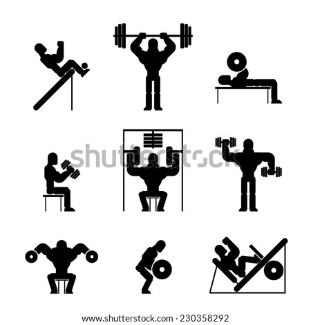 Assorted Black and White Bodybuilding and Weightlifting Icons on White Background. - stock photo
