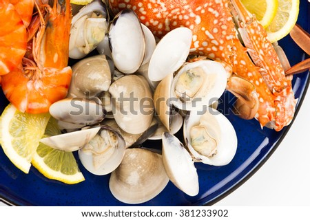 Assorted boiled seafood on dish