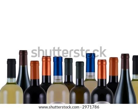 assorted bottles of wine on white background - stock photo