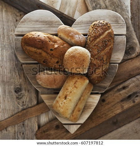Assorted Bread Loaves Different Types And Kinds Of Baps Buns Bakery Display