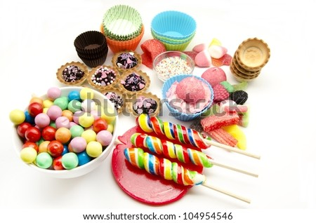 Assorted candies and sweets - stock photo