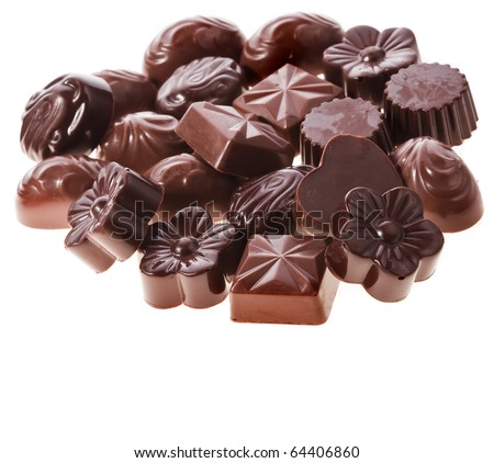 Assorted chocolate  candies  Isolated on white - stock photo