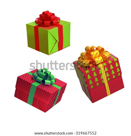 assorted Christmas gift boxes isolated on white background, 3d illustration - stock photo