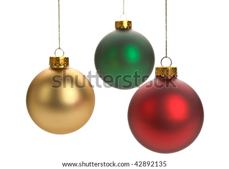 Assorted Christmas ornaments on white background - stock photo