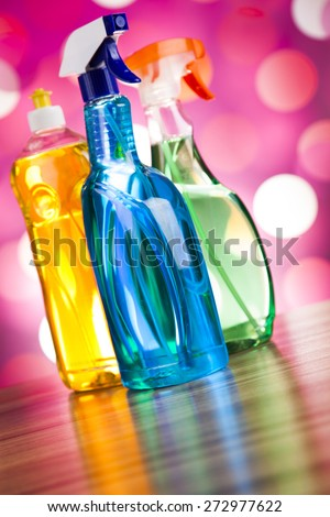 Assorted cleaning products, home work colorful theme - stock photo