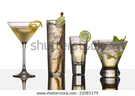 assorted cocktail drinks made with vodka - stock photo
