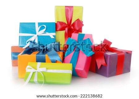 Assorted Color Gift Boxes with Ribbons Isolated on White Background. - stock photo