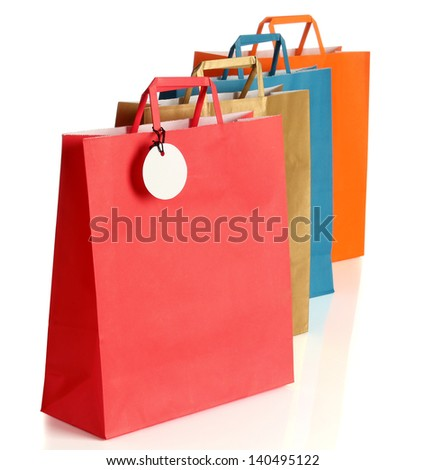 Assorted colored shopping bags - stock photo