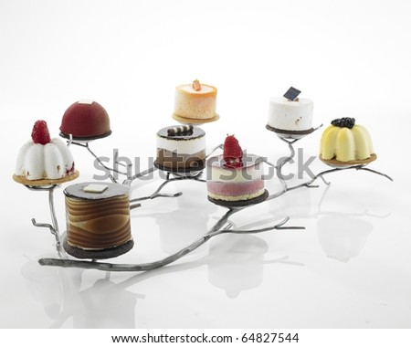 Assorted desserts on white