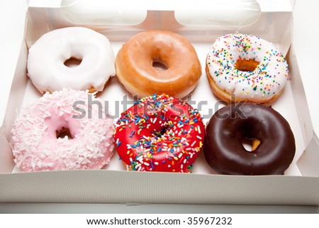 Assorted donuts on a white background