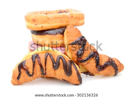 assorted donuts on white background - stock photo