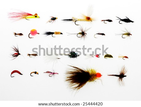 Assorted fly fishing lures