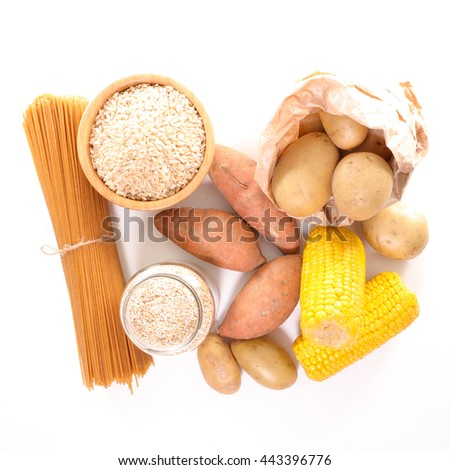 assorted food high in carbohydrate - stock photo