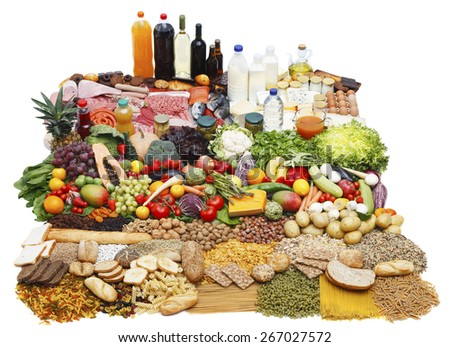 Assorted food on white background grouped by typology - stock photo