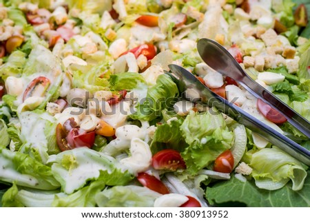 Assorted fresh salads displayed on a buffet in individual containers at a catered event or celebration - stock photo