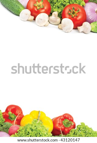Assorted fresh vegetables isolated on white background - stock photo