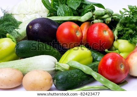 assorted fresh vegetables on white - stock photo