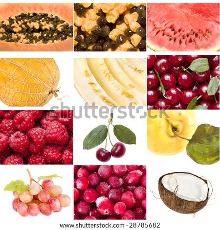 Assorted fruit isolated on white background - stock photo