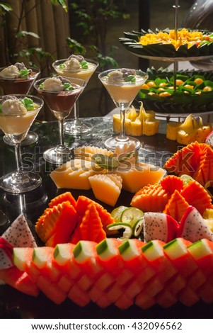 Assorted fruits, for buffet line in wedding party.