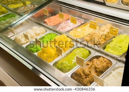 Assorted Gelato Ice cream tray showcase - stock photo