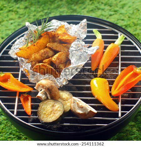 Assorted healthy fresh vegetables grilling over a BBQ fire with sweet peppers, potato, mushrooms and baby carrots - stock photo