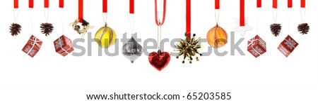 Assorted high resolution Christmas decorations and ornaments isolated on white - stock photo
