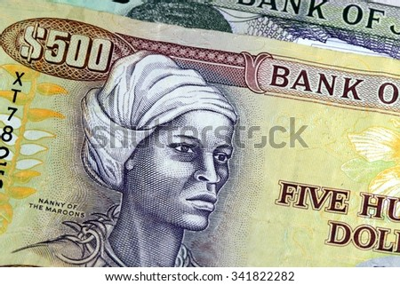 Assorted Jamaican money banknotes - Financial security concept background
