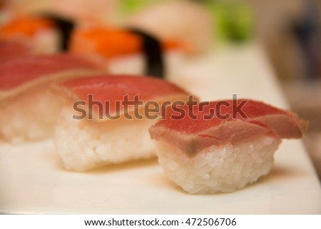 Assorted japanese sushi on a white plate