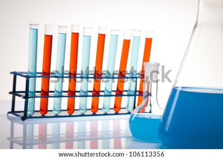 Assorted laboratory glassware , experiment